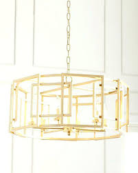 gold drum chandelier leaf square motif white