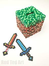 minecraft crafts perler bead moneybox red ted art s blog minecraft perler bead pattern moneybox pattern idea a fun and practical minecraft craft