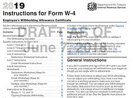 Payroll 2019 Irs Draft Instructions For Form W 4