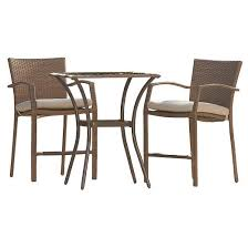 high top patio dining table. lakewood ranch 3 piece steel woven wicker outdoor high top bistro patio furniture set with cushions - brown cosco dining table
