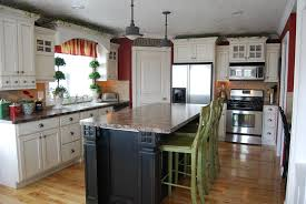 White Kitchen With Red Accents Red Kitchen Cabinets With Black Glaze Quicuacom