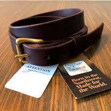 wood faulk slim martin leather belt brown 34 made in usa men s fashion accessories belts on carou