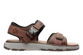 un trek part mens leather sandals clarks dark tan leather