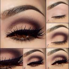 first apply foundation on your eyelids apply the brown eyeshadow with small brush such as