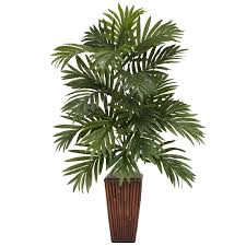 Decorative Indoor Trees Nearly Natural Areca Palm Desk Top Plant In Decorative Vase