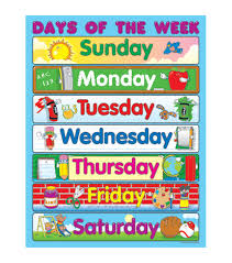 Fabric Days Of The Week Chart Carson Dellosa Days Of The Week Chart 6pk Classroom