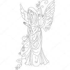 孤立したスケッチの天使を祈る ストックベクター Spanychev 12745829