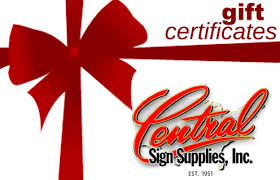 Gift Certificate Sign Gift Certificate Central Sign Supplies Inc