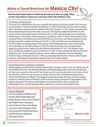 How To Make Travel Brochure Make A Travel Brochure For Mexico City Worksheet Education Com