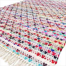 colorful bohemian white multicolor handmade chindi decorative boho woven rag rug 3 x 5 to 5 x 8 ft