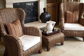 image of wicker wingback chairs