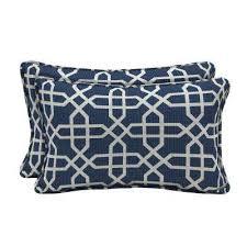 sunbrella bevel indigo lumbar outdoor throw pillow 2 pack