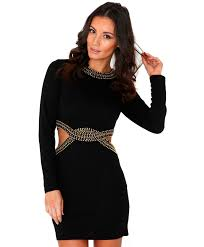 Womens Long Sleeve Black Bodycon Dress