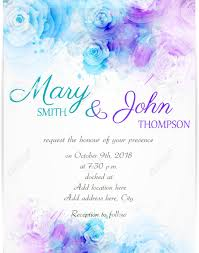 Wedding Invitation Template With Abstract Florals On Watercolor