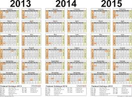 2013/2014/2015 calendar - 2 three-year printable Excel calendars