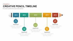 Timeline Ppt Slide Creative Pencil Timeline Powerpoint Template Keynote Slide