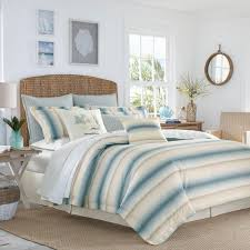 la prisma 4 piece stripe blue queen comforter set