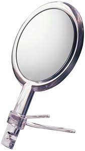 mirror on stand. floxite fl-10h 10x/1x hand held 2-sided mirror with stand, on stand l