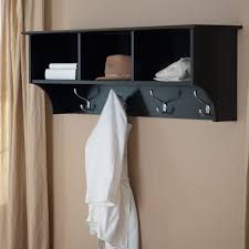 interior black wooden coat rack shelf with four stainless steel hanger and three racks on
