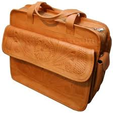 253 tooled leather laptop computer bag in natural