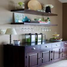 dining room floating glass bar nook shelves pictures