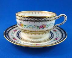 Decorative Cups And Saucers Dresden Style Large Cup Saucer wCobalt Blue Gold HP Floral 32
