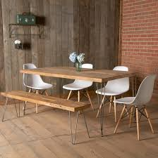 dining room rectangle brown wooden table with steel legs plus brown wooden bench with steel