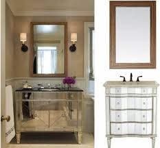 Bathroom: Wood Framed Bathroom Mirror Ideas With Double Wall Sconces -  Decorative Bathroom Mirrors