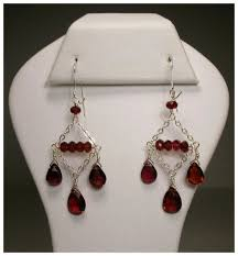 sterling silver garnet chandelier earrings