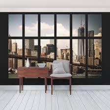 Fototapete New York Fenster New York Brooklyn Bridge Vliestapete