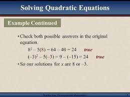 martin developmental mathematics 6 solving quadratic equations check both possible answers in the