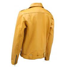 biker look yellow leather jacket men tafari