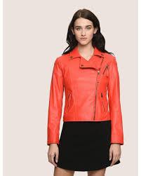 armani exchange red faux leather biker jacket lyst