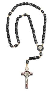 catholica saint st benedict black wooden rosary necklace with 2 5 cross made in brazil 19 inch com