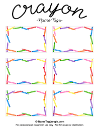 name tag template free printable free printable crayon name tags the template can also be used for