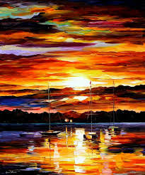 gold sunset palette knife oil painting on canvas by leonid afremov