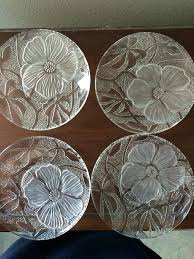 clear dessert plates vintage embossed clear frosted glass salad dessert plates set of 8 flowers unknown