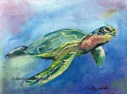 loggerhead sea turtle watercolor sea life painting