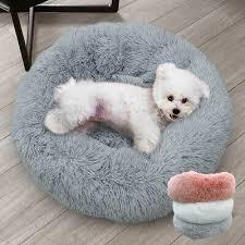 Cozy <b>Long</b> Plush <b>Pet Bed</b> Non-slip Round Mattress Warm Sleep Mat ...