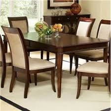 this 7 piece set includes the mille dining table with an leaf and 6 side chairs upholstered