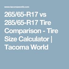 265 65 R17 Vs 285 65 R17 Tire Comparison Tire Size