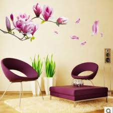 Small Picture Aliexpresscom Buy Purple Magnolia Flower Wall Stickers Bedroom