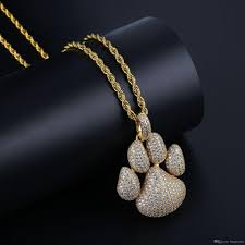 whole iced out chain micro pave hip hop fashion paw dog cat claw necklace cubic zircon gold silver color pendant for man women silver jewellery