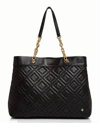 tory burch louisa fleming quilted leather tote bag black 41885