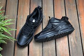 2016 newest nike air max 90 high tops running shoes for men all black leather