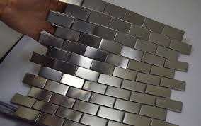 kitchen backsplash stainless steel tiles: free shipping silver color stainless steel metal mosaic tiles subway brick pattern hallway mosaic tiles kitchen