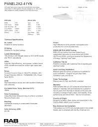 2013 Title 24 Lighting Rab Lighting Panel2x2 41yn Recessed Led Manualzz Com