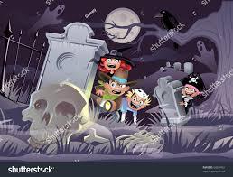 Kids in a graveyard on Halloween