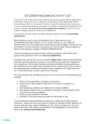 Extra Curricular Activities Examples For Resume Resume