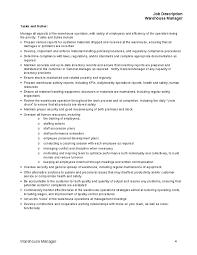 job description for warehouse manager tasks and duties housekeeping job duties